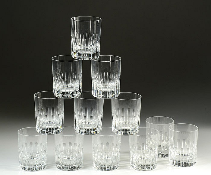 SET OF TWELVE BACCARAT CUT CRYSTAL BARWARE: Double