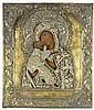 RUSSIAN ICON, VLADIMIR MOTHER OF GOD with 19th