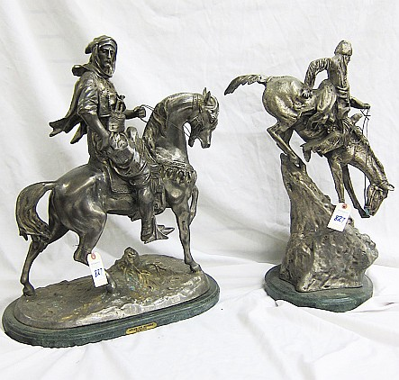 TWO NICKEL-BRONZE HORSE AND RIDER SCULPTURES: 1)