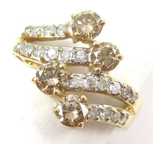 CHAMPAGNE DIAMOND, WHITE DIAMOND AND 14K GOLD RING