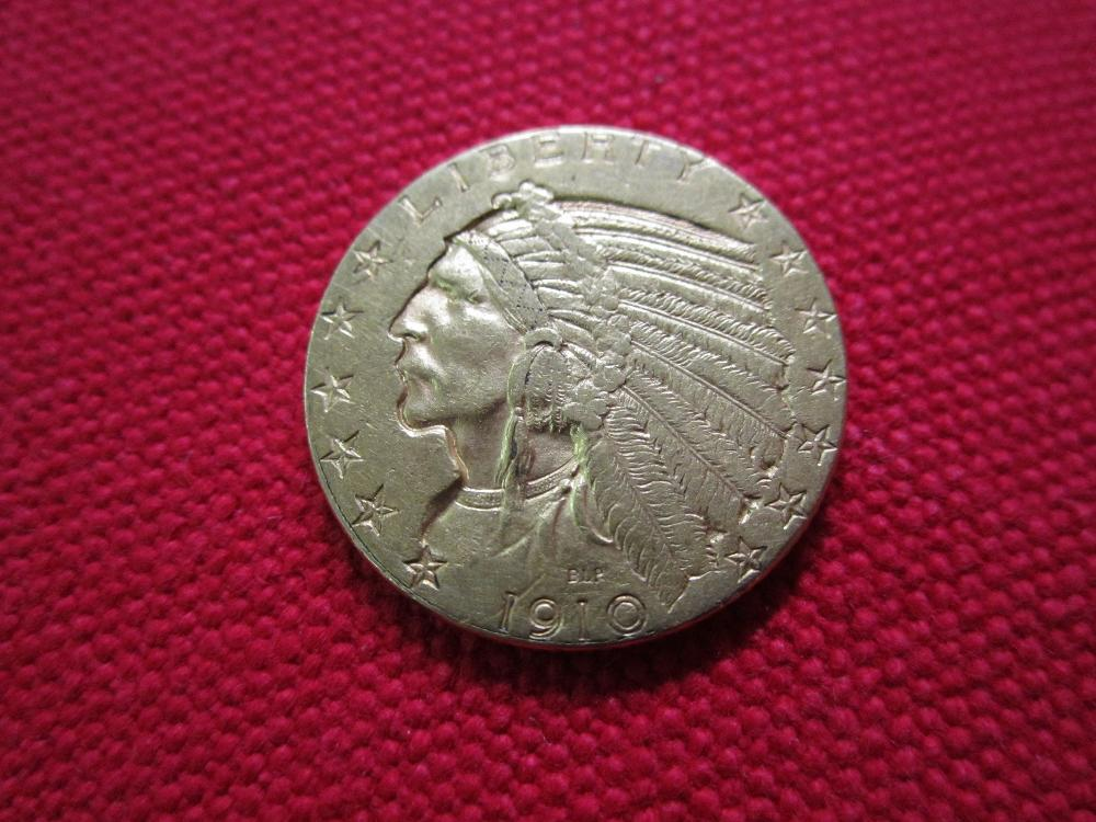 1910 Five Dollar Indian Head Gold Piece