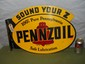 "Pennzoil ""Sound Your Z"" Double Sided Flange Sign-Dated 1946"