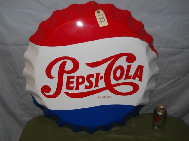 """Pepsi Bottle Cap Button Sign-26 1/2"""" Aluminum-Stout Sign"""