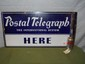 Porcelain Double Sided POSTAL TELEGRAPH Flange Sign-30x66