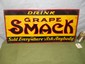 """DRINK GRAPE SMACK"" Early Tin Embossed Advertising Soda Sign-13 x 27"