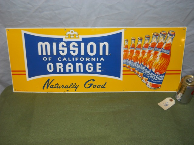 Embossed Mission Orange Sign with Bottles-Press Sign Co.-11 1/4 x 29 3/4