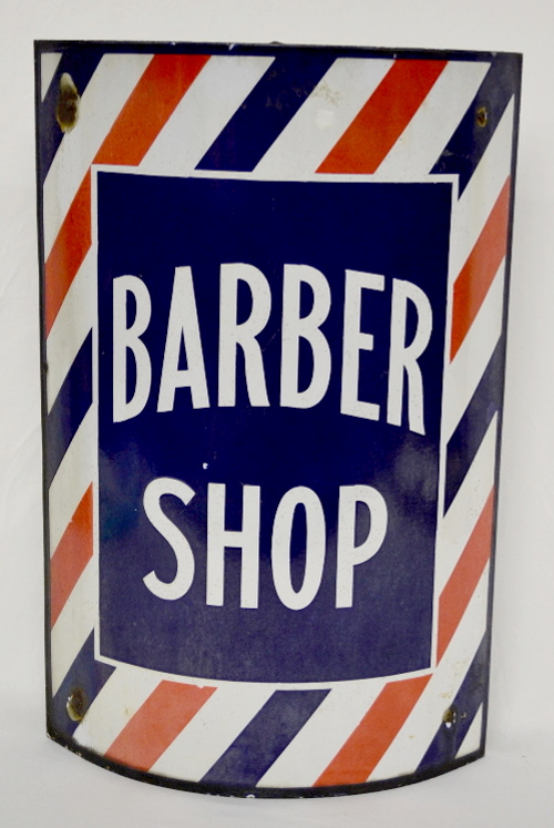 Curved Barber Shop Sign: Classic striped pole design with