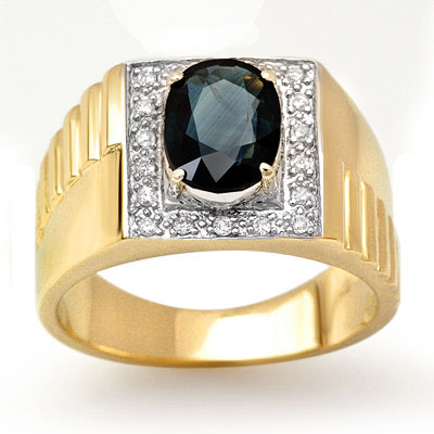 Genuine 2.65 ctw Sapphire & Diamond Men's Ring 10K Gold - L90821