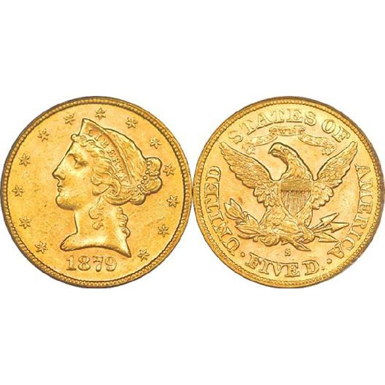 $5 Liberty Gold - Half Eagle - 1839 to 1908 - Random date - L4008