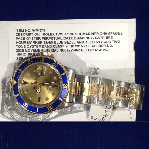 Authentic Rolex Two-tone Submariner Champagne Face - L9006
