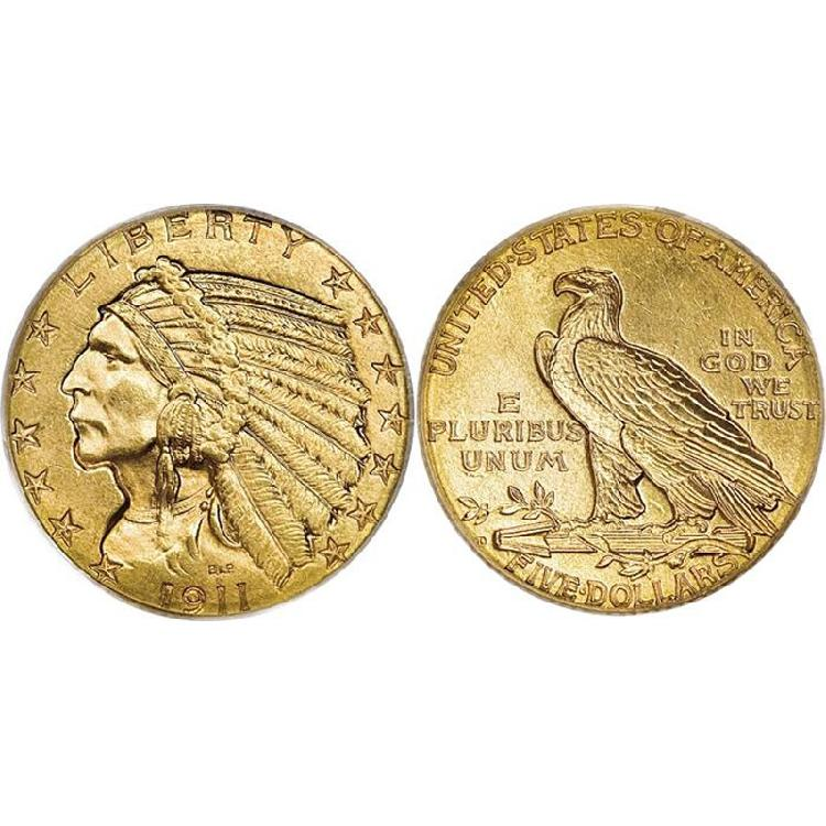 $5 Indian Gold - Half Eagle - 1908 to 1929 - Random date - L4007