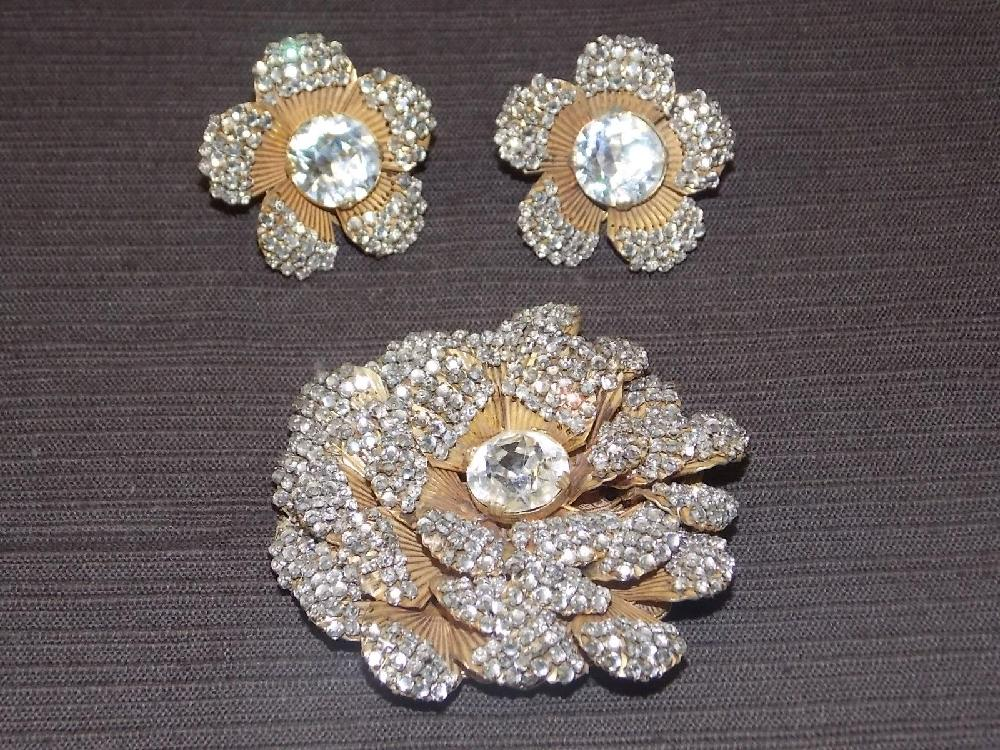 Vintage Miriam Haskell Brooch and Earrings.